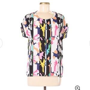 Cynthia Rowley colorful abstract floral popart top